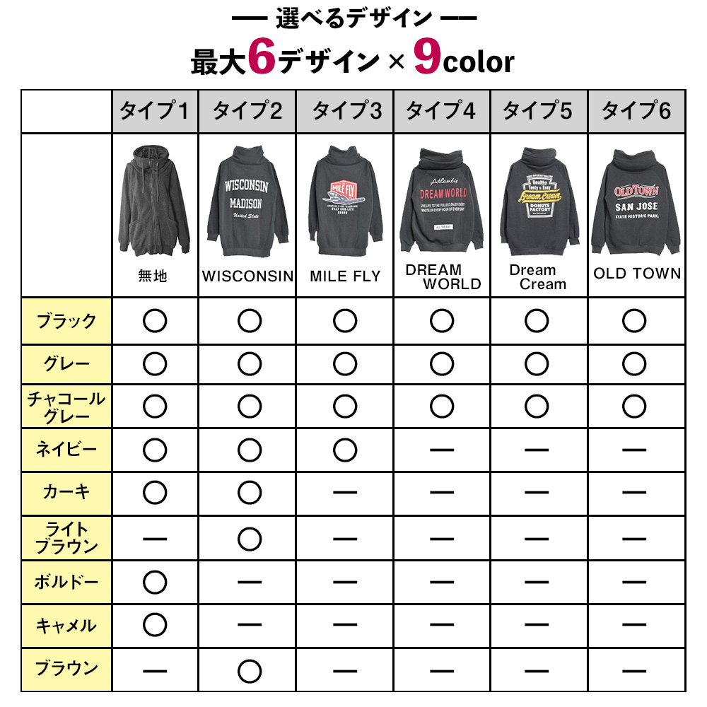 【選べる6type】ボリュームネックジップアップパーカー フード付きカジュアルアウター デニムなどのパンツと相性抜群! トレンドゆったりシルエット