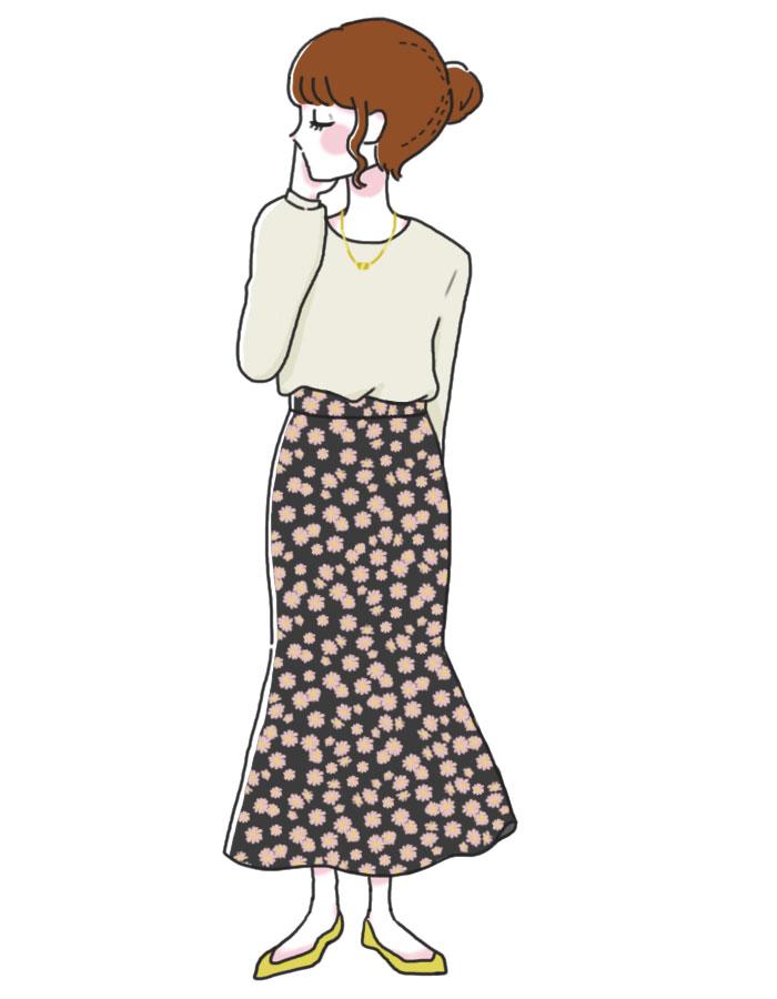 「花柄スカートを上手く取り入れろ」コーデ
