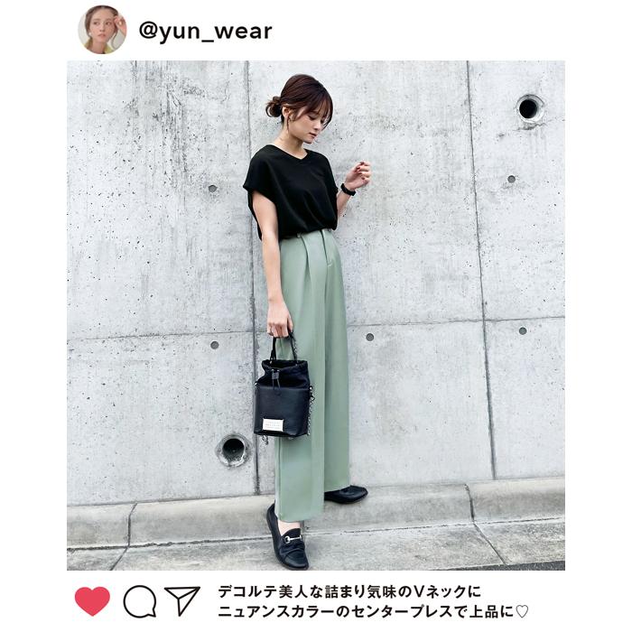 【インスタグラマーyunさん着用】美脚センタープレスセミワイドパンツ