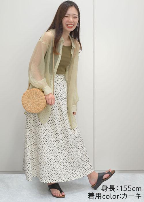 インナーコーデ⑤ 大人可愛く!シアーシャツ+同色インナー+スカート