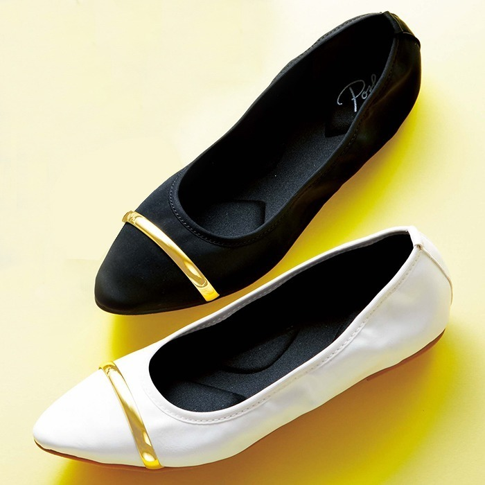 GeeRA 折りたためる便利なフラットパンプス ホワイト レディース 5,000円(税抜)以上購入で送料無料 パンプス 秋 レディースファッション アパレル 通販 大きいサイズ コーデ 安い おしゃれ お洒落 20代 30代 40代 50代 女性 靴 シュ
