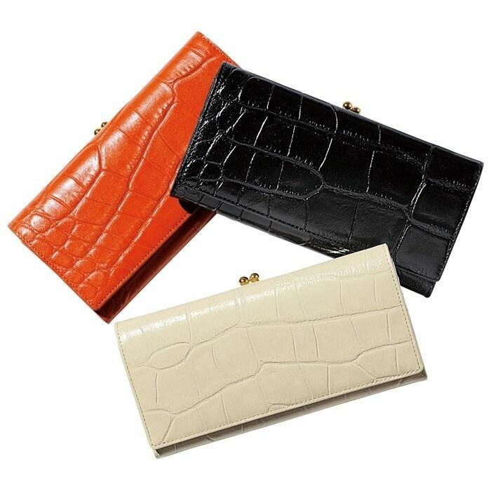 本革クロコ型押し口金式長財布