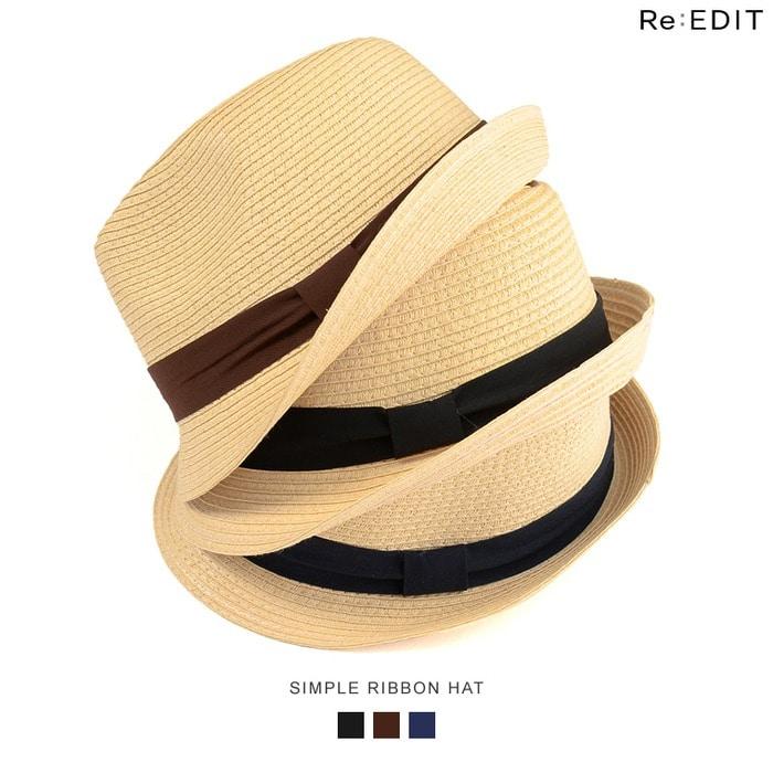 Re: EDIT シーズンライクな中折れハット ナチュラル素材リボン中折れハット グッズ/帽子/ハット ブラウン フリー レディース 5,000円(税抜)以上購入で送料無料 ハット 秋 レディースファッション アパレル 通販 大きいサイズ コーデ安い おしゃれ お洒落 20代 30代 40代 50代 女性 帽子