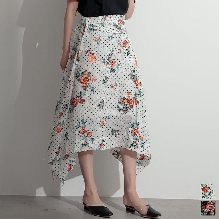 Re: EDIT 「アウトレットプライス」ドットと花柄の旬な出会い。ふわりと揺れる大人のフレア 花柄×ドットイレギュラーヘムフレアスカート スカート/スカート ホワイト M レディース 5,000円(税抜)以上購入で送料無料 秋 レディースファッション アパレル 通販 大きいサイズ コーデ 安い おしゃれ お洒落 20代 30代 40代 50代 女性 スカート