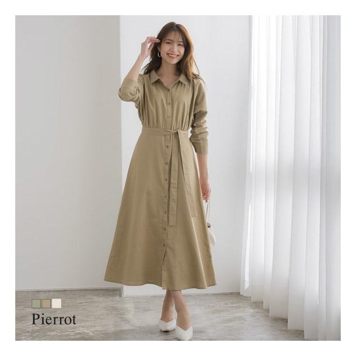 Pierrot<麻混ロングシャツワンピース>