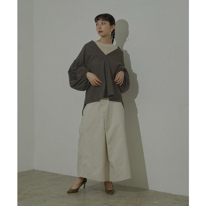 ボリュームスリーブスキッパーチェックシャツ【miette ミエット】