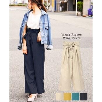 0f48d7cfe3d FASHIONLETTER パンツ ワイドパンツ レディース 大きいサイズ タック コーデ ファッション 大人 かわいい ハイウエスト ウエストゴム