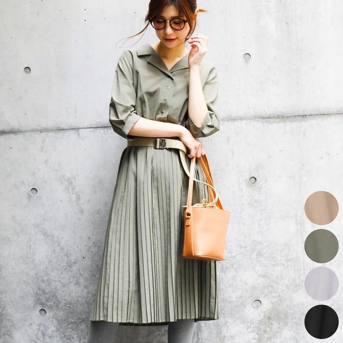 Fashion Letter<プリーツシャツワンピース>