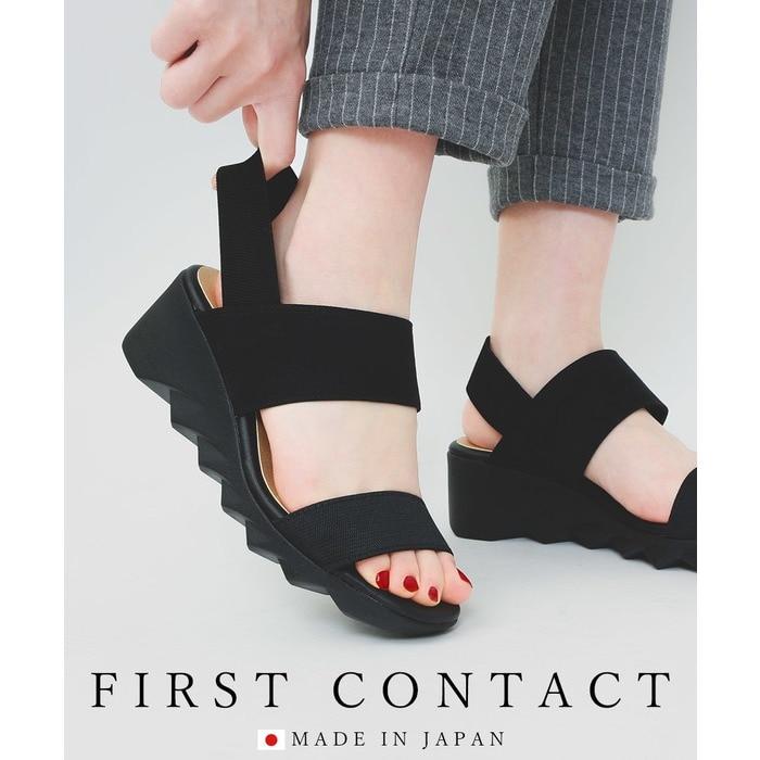 Fashion Letter コンフォートサンダル ヒール レディース 立ち仕事靴 オフィス 室内履き コンフォートシューズ 日本製 FIRSTCONTACT ファーストコンタクト ナースシューズ ウェッジソール 靴 サンダル レディース 歩きやすい 痛く