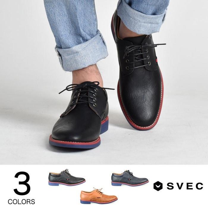 SVEC レースアップシューズ プレーントゥ メンズ カジュアル シューズ レースアップ 紐 靴 くつ ブラック ネイビー ブラウン 黒紺茶 SVEC シュベック SPT012-1 ブラウン 26.0cm メンズ 5,000円(税抜)以上購入で送料無料 ビジネスシューズ ドレスシューズ 秋 メンズファッション アパレル 通販 大きいサイズ コーデ 安い おしゃれ お洒落 20代 30代 40代 50代 男性 靴 シューズ