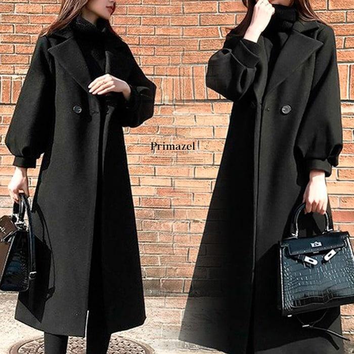 ウエストリボンバルーン袖ロングコート