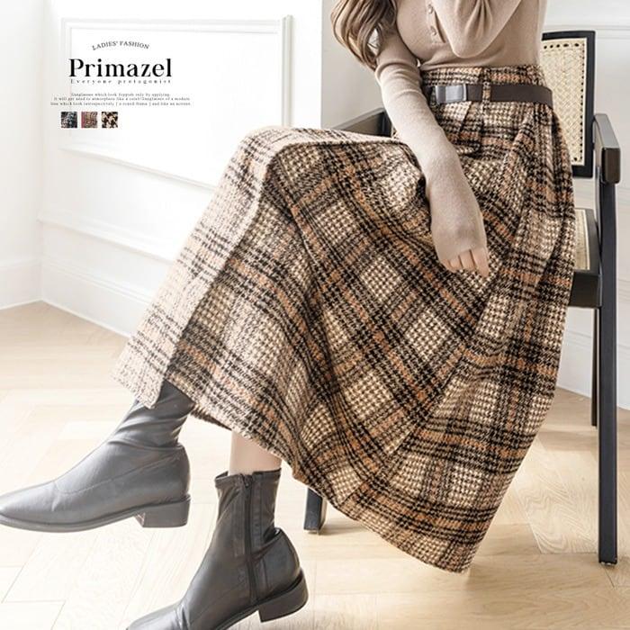 ベルト付きチェック柄ラップ風フレアスカート