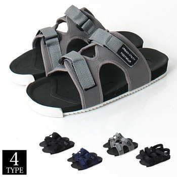 5248958640a0fe サンダル メンズ スポーツ 2連 3連 タイプ スポサン ベルクロ 軽量 無地 靴 黒 ブラック シャーク