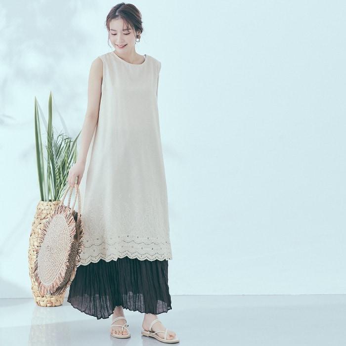 裾刺繍コットンリネンワンピース