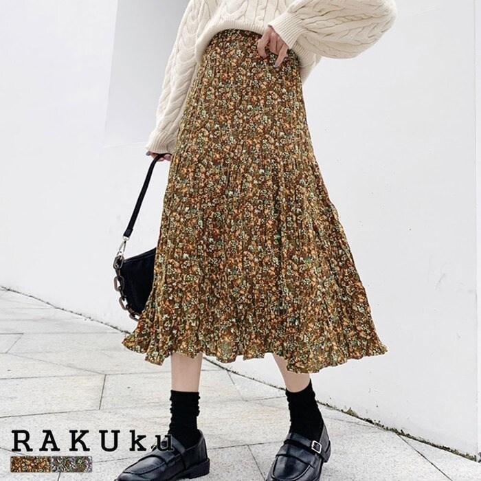 花柄プリントロング丈スカート