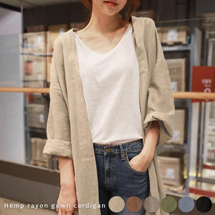 麻レーヨンロングガウンカーディガン 韓国ファッション
