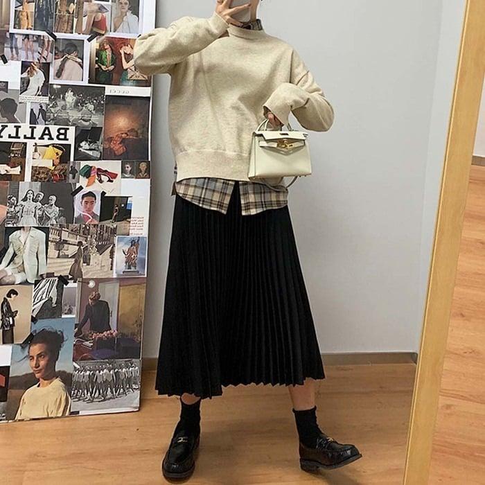 タータンチェックシャツ 2020 新作 韓国ファッション 大人かわいい プチプラ ママ トップス 長袖 シャツ チェック チェックシャツ ゆったり ネルシャツ 秋色 ラテカラー カジュアル シンプル