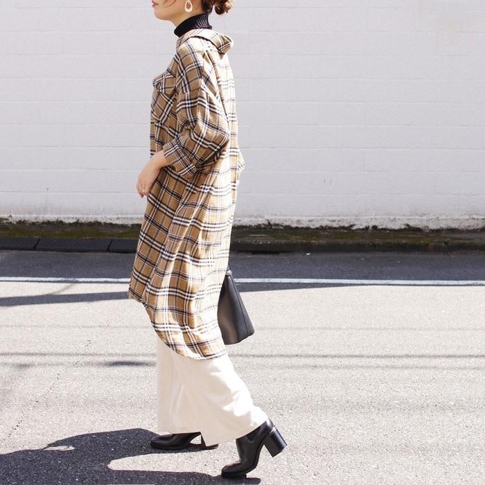 シャツワンピ レディース ファッション 秋 冬 30代 40代 ロングシャツ プチプラ 大きめ ゆったり 体型カバー チェック オーバーサイズ 楽ちん